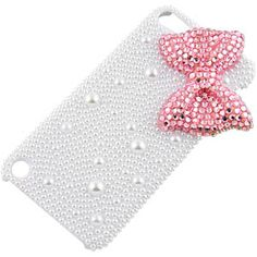 Crystal Deluxe Diamante Back Cover for iPod touch (5th gen.), 3D Pearl Pink Bow Tie