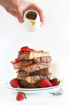 Vegan French Toast with Strawberries and Coconut Whipped Cream! #vegan #healthy #easy AND all natural