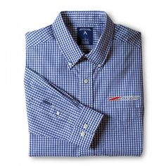 Z06 Associate Dress Shirt - Blue/White  Show your Corvette pride in this trending yarn-dyed plaid pattern dress shirt. Button down collar, chest pocket and button sleeve placket. Z06 logo embroidered on left chest. 60% cotton/40% poly blend easy-care fabric. Imported.  SKU: CK2-MM202