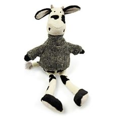 "Another farmyard favourite, Milkshake Cow from Air Puppy is 26cm and looks very snuggly in his charcoal grey knitted polo neck sweater. We love the innocent look that this range gives you, it quietly shouts ""Love Me Please"" which we find absolutely irresistible!"