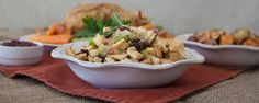 Apple and Herb Naan Stuffing Recipe Side Dishes with Stonefire Naan, butter, yellow onion, diced celery, gala apples, flat leaf parsley, fresh rosemary, salt, chicken stock, raisins