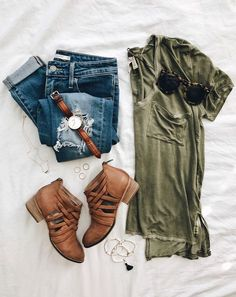 Military green t-shirt, skinny jeans, camel cutout booties, brown leather watch band
