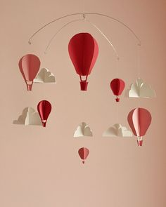 Customized Hot Air Balloon Paper Mobile S door HushHoneyCollective, $55.00