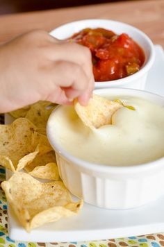 White Cheese Dip. Dont even sit down with three chips after you make this; if you dont bring the whole bag, you might as well forget it because I guarantee that you will eat just about the whole bag with this fabulous dip! http://media-cache7.pinterest.com/upload/259519997247290912_m2IkSE02_f.jpg katieintn addicting appetizers