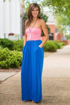 Life At The Top Maxi Dress, Royal Blue-Pink #pockets #maxi