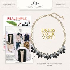 Featured in Real Simple – our Midnight Palace Collar Necklace! Get the look on my boutique today!