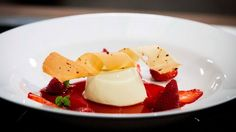 Basil Panna Cotta with Balsamic Strawberry Syrup, Roasted Balsamic Strawberries and Peppercorn Tuille