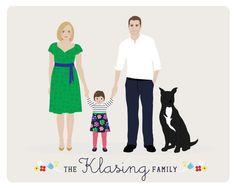Custom Family Portrait family illustration by HenryJamesPaperGoods, $80.00