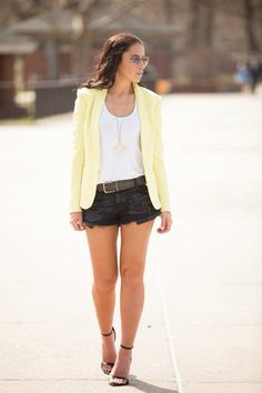 Summer yellow blazer outfit inspiration // Zara Black Distressed Denim Shorts // H&M Jersey Top // Zara Black Braided belt // Zara High Heel Sandal With Ankle Strap Similar // Kate Spade Gold Play All The Angles necklace // Rag And Bone Yellow Tuxedo Jacket // Tiffany & Co Rose Gold Atlas ring // Tiffany & Co Rose Gold Atlas bracelet