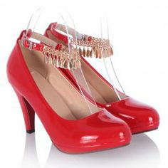 $19.10 Pretty Women's Pumps With Chains and Patent Leather Design
