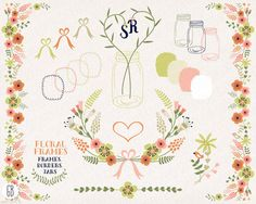 Floral frames, flower border, mason jars, ribbon, clip art, vector, muscari, birthday card, party stationery, table card, wedding invitation