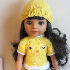 Gilet et bonnet poussin de pâques pour poupées corolle les chéries ou paola reina