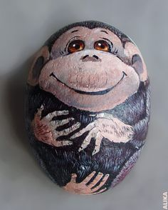 Hand painted rock. Monkey
