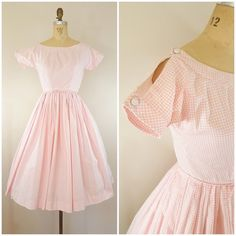 Vintage 1950s Lanz Dress / Cold Shoulder Dress / Pink and White Gingham / Day Dress / Cotton Dress / XS
