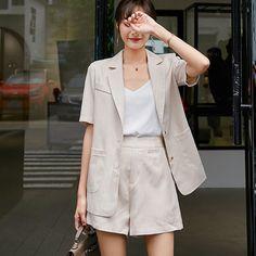 Cotton Linen Summer Suit Casual Female 2 Pieces Set Tracksuit For Women Loose Blazer And Short Pant Suits High Quality Summer Blazer, Summer Suits, Blazers For Women, Suits For Women, Clothes For Women, Linen Suit, Blazer And Shorts, Business Casual Outfits, Pant Suits