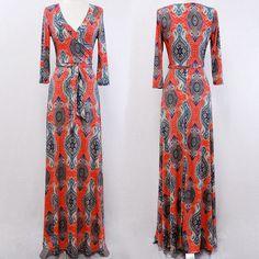 BOHEMIAN GYPSY Orange MAXI DRESS Jersey Faux Wrap LONG Skirt vtg BOHO S M L #tamarstreasures #WrapDress #Cocktail