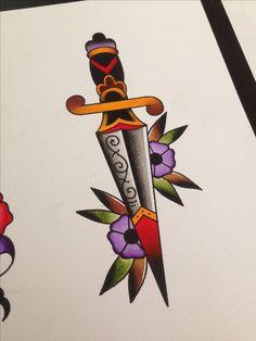 Amsterdam tattoo old school dagger flowers www.eetattoo.com