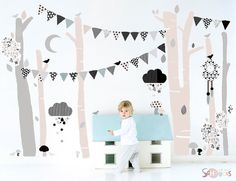 Tree Forest Fabric Decal Wall Stickers - Black & White Modern Woodland Geometric Children's decals