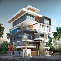 Corporate Building Design | 3D Rendering: Corporate Building Elevation - Building Designs