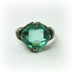 Vintage Art Deco Ring  Aqua  Sterling Silver  by WickedDarling, $87.00