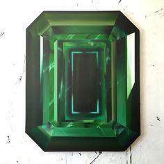 """Green Emerald - Extra Large"" by Kurt Pio || Acrylic on Canvas 44.5 x 36.4 inches  Kurt Pio | Gallery Orange"