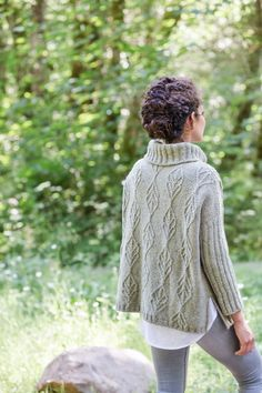 "Birch Bay cabled turtleneck pullover by Julie Hoover. Shown in color ""Foothills"". From Brooklyn Tweed's ""Fall 15"" Collection."