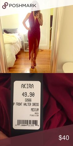 Stunning Open Back Dress😱❣ NWT grab this STUNNING (and sold out) drape dress with open back. The drapery and fit is absolutely gorgeous - flattering for any figure. Size medium and a beautiful maroon color AKIRA Dresses