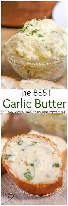The BEST Homemade Garlic Butter - This amazing garlic butter has a secret ingredient that makes it extra good! Great on bread, veggies, fish, potatoes or garlic toast! Sauce Recipes, Cooking Recipes, Cooking Cake, Garlic Recipes, Fish Recipes, Seafood Recipes, Fingers Food, Homemade Garlic Butter, Antipasto