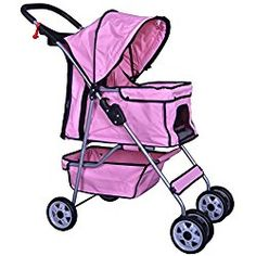 Pet Stroller Cat Dog Cage Travel Folding Carrier 4 Wheels Pink #431