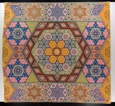 Made by Grace McCance Snyder, McPerson County, NE, USA, 1940.  Appears to be inspired by (or maybe copied at least in part from) Albert Small's quilt https://www.pinterest.com/pin/115967759131861317/