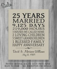 Anniversary Gift Print Personalized Important Dates