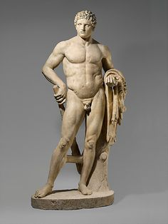 Marble statue of a youthful Hercules. Period: Early Imperial, Flavian. Date: 69–96 A.D. Culture: Roman. Medium: Marble, Island ?