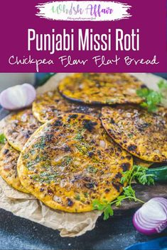 Missi Roti is Chickpea flour flat bread which is a Punjabi speciality and is mostly made during winters in tandoor or clay oven. It is slathered with a good dose of desi ghee before serving and goes well with Indian curries. Here is how to make Missi Roti Chickpea Flour Recipes, Millet Recipes, Veg Recipes, Vegetarian Recipes, Cooking Recipes, Vegetarian Breakfast Recipes Indian, Chickpea Flour Bread, Jain Recipes, Roti Recipe Indian