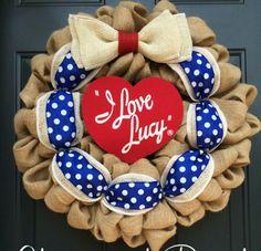 I Love Lucy Burlap Wreath Lucille Ball Show Birthday