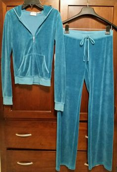 NWOT JUICY COUTURE 2pc.Velour Track Suit Set Pants Hoodie TEAL BLUE SMALL P #JuicyCouture #TrackSweatSuits