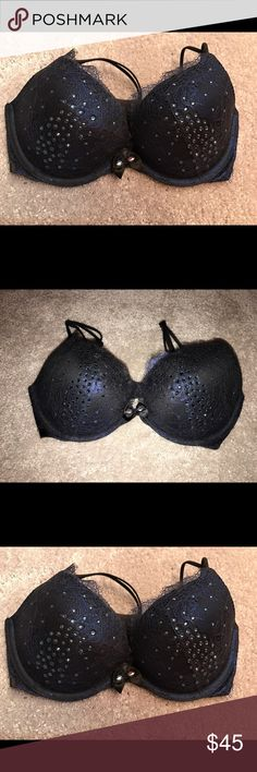 Victorias Secret  Pushup Bra Victorias Secret Pushup Bra. brand new without tags. originally $75. was a Limited Edition Holiday Exclusive. goregeous metallic navy blue with black lace and embellished with Swarovski Crystals. SIZE 32D Victoria's Secret Intimates & Sleepwear Bras