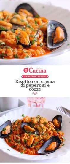 #Risotto con crema di #peperoni e #cozze della nostra utente Giovanna. Unisciti alla nostra Community ed invia le tue ricette!