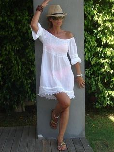 80 Summer Time For Off Shoulder Dresses Ideas 44 Source by judyvermi dresses idea Vacation Outfits, Summer Outfits, Summer Dresses, Beach Sundresses, Off Shoulder Dresses, Shoulder Tops, Mein Style, Bohemian Mode, Boho Fashion