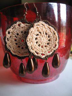Crochet Motif Earrings Brown and Peach with Dangling Teardrops. $12.99, via Etsy.