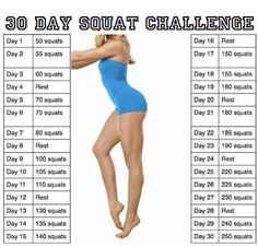 30 day squat challenge.  This is where I got my idea for the squat challenge but I altered to get the best results.