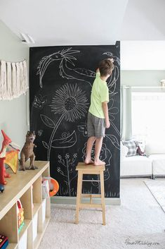 $10 chalkboard wall in sage playroom