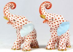 Herend Hand Painted Porcelain Figurines Two Elephants Rust Fishnet Gold Accents.