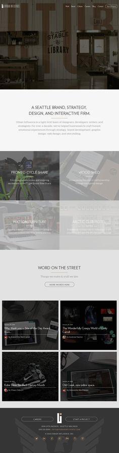 The website 'http://urbaninfluence.com/' courtesy of @Pinstamatic (http://pinstamatic.com) #tipografía
