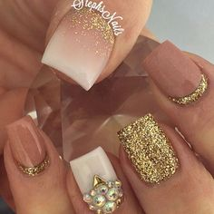 Nude nails with sparkles: