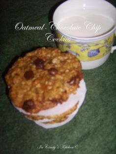 In Cindy's Kitchen: Oatmeal-Chocolate Chip Cookies; chewy oatmeal cookies with chocolate chips sprinkled about