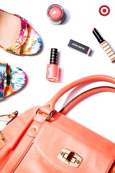Loving coral for spring—bright bags, Sonia Kashuk's new Sahara collection and some seriously pretty shoes.