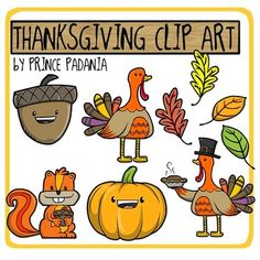 Get festive for Fall and Thanksgiving with this collection of 9 unique Clipart images!All images are in png formats so they can be easily dragged-and-dropped into your projects and lessons. All images are also available in full-color and two versions of black-and-white.Images included are:-Turkey-Turkey with pie-Squirrel-Acorn-Pumpkin-LeavesFor commercial use, please link back to my TpT shop.