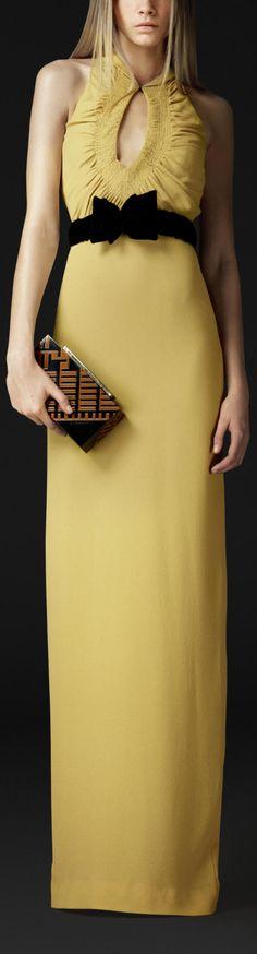 Sunny Yellow / karen cox. Burberry Silk Keyhole Dress