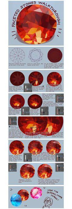 【绘画教材】非常详细的的宝石材质绘画过程...@杳杳一夕采集到一篮子素材(539图)_花瓣插画