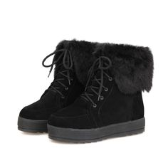 Agowoo Womens Polish Lace Up Plush Thermal Ankle Short Snow Boots ** To view further for this item, visit the image link.
